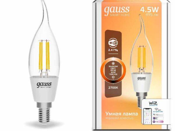 Лампа светодиодная диммируемая филаментная Gauss E14 4,5W 2700K прозрачная 1260112