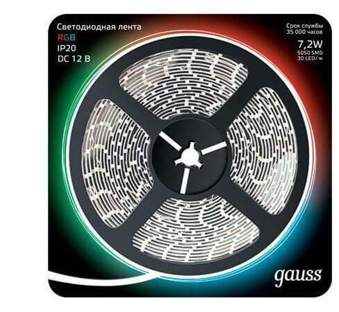 Светодиодная лента Gauss 7,2W/m 30LED/m 5050SMD RGB 5M 312000407