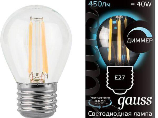 Лампа светодиодная диммируемая Gauss филаментная E27 5W 4100К прозрачная 105802205-D