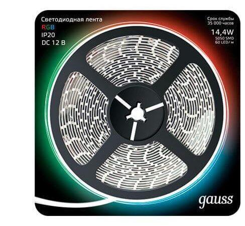 Светодиодная лента Gauss 14,4W/m 60LED/m 5050SMD RGB 5M 312000414