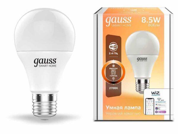 Лампа светодиодная диммируемая Gauss E27 8,5W 2700K матовая 1050112