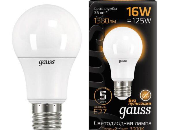 Лампа светодиодная Gauss E27 16W 3000K матовая 102502116