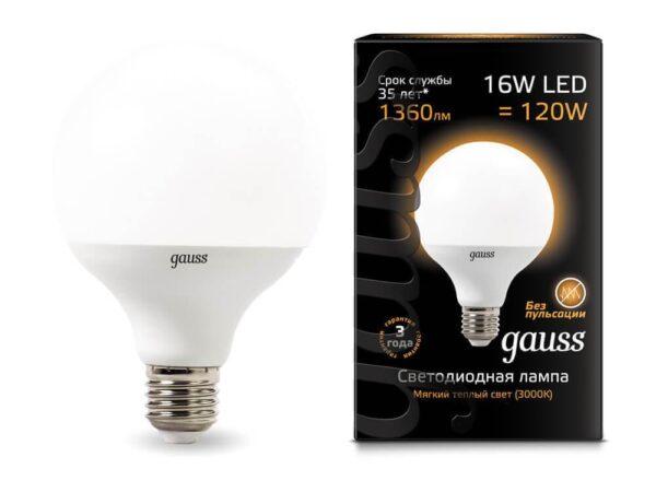 Лампа светодиодная Gauss E27 16W 3000K матовая 105102116