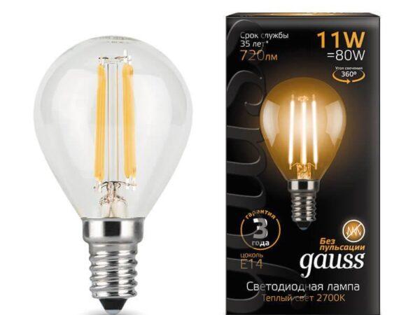 Лампа светодиодная филаментная Gauss E14 11W 2700К прозрачная 105801111