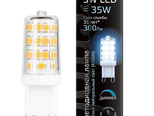 Лампа светодиодная диммируемая Gauss G9 3W 4100K прозрачная 107309203
