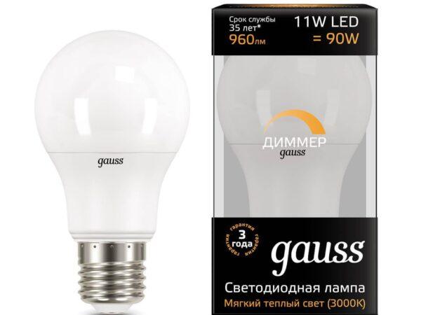 Лампа светодиодная диммируемая Gauss E27 11W 3000K матовая 102502111-D