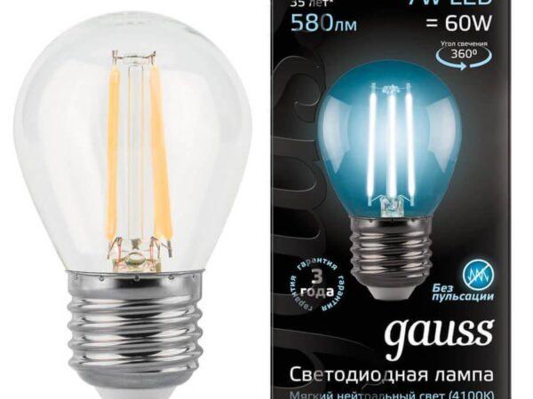 Лампа светодиодная филаментная Gauss E27 7W 4100К прозрачная 105802207