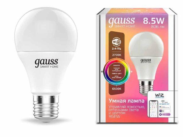 Лампа светодиодная диммируемая Gauss E27 8,5W 2700-6500K RGBW матовая 1170112