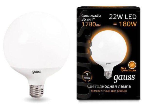 Лампа светодиодная Gauss E27 22W 3000K матовая 105102122