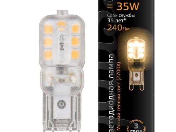 Лампа светодиодная Gauss G9 3W 2700K прозрачная 107409103
