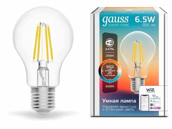 Лампа светодиодная диммируемая филаментная Gauss E27 6,5W 2000-6500K прозрачная 1220112