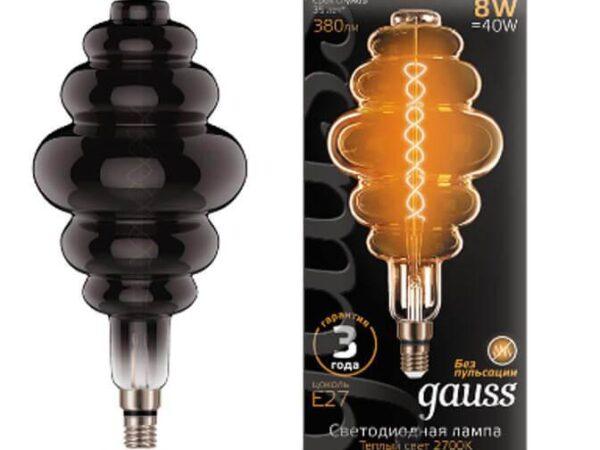 Лампа светодиодная филаментная Gauss E27 8W 2700K серая 159802008