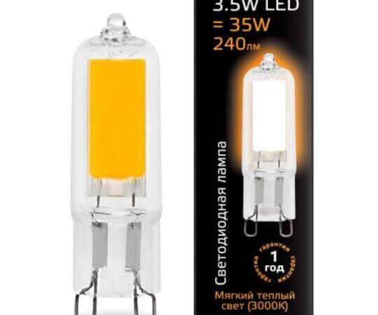 Лампа светодиодная Gauss G9 3.5W 3000K прозрачная 107809103