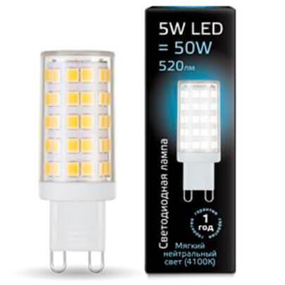 Лампа светодиодная Gauss G9 5W 4100К прозрачная 107309205