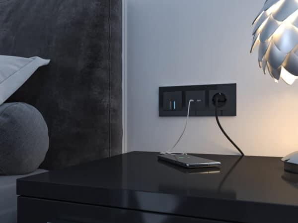 W1171808/ Розетка USB тип A+С (черный матовый)