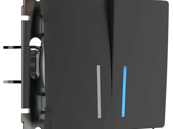 W1122108/ Выключатель двухклавишный проходной с подсветкой (черный матовый)