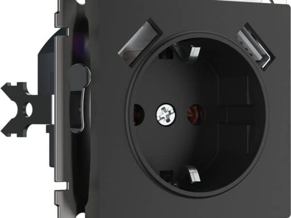 W1171508/ Розетка с заземлением, шторками и USBх2 (черный матовый)