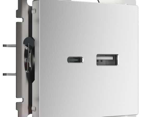 W1171806/ Розетка USB тип A+С (серебряный)