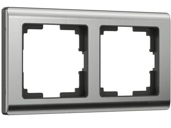 WL02-Frame-02 / Рамка на 2 поста (глянцевый никель)